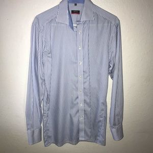 Men's shirt, striped shirt blue with white